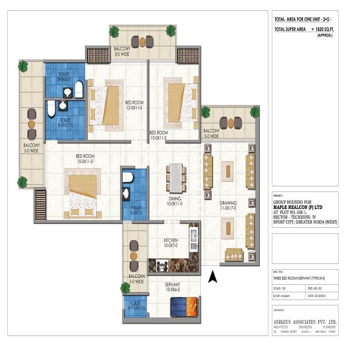 misty height floor plan 3bhk 4toilet 1820 sq.ft