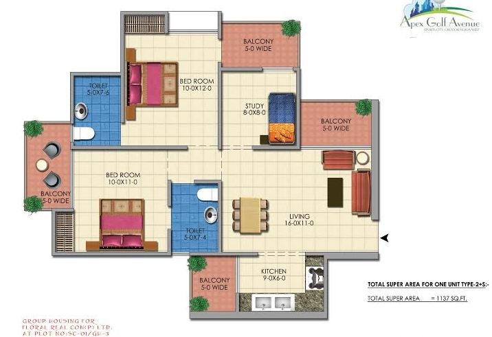 apex golf avenue floor plan 2bhk 2toilet 1137 sq.ft