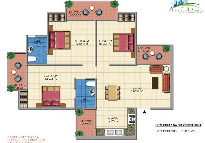 apex golf avenue floor plan 3bhk 2toilet 1369 sq.ft