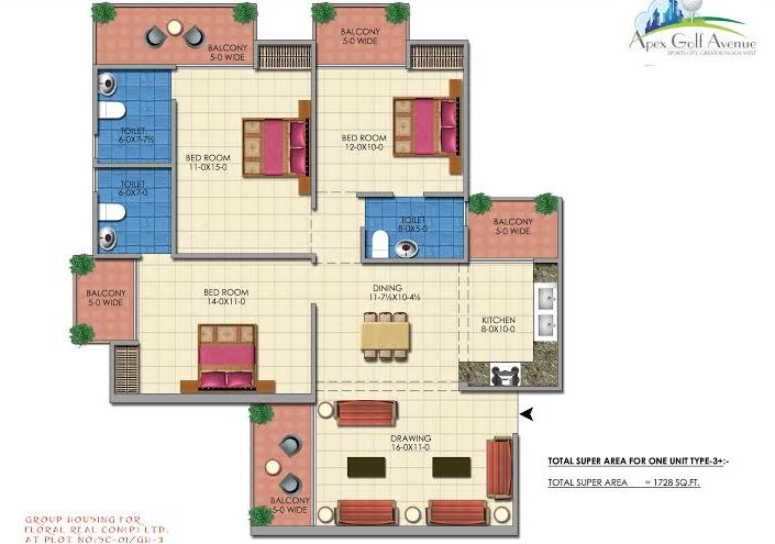 apex golf avenue floor plan 3bhk 3toilet 1728 sq.ft