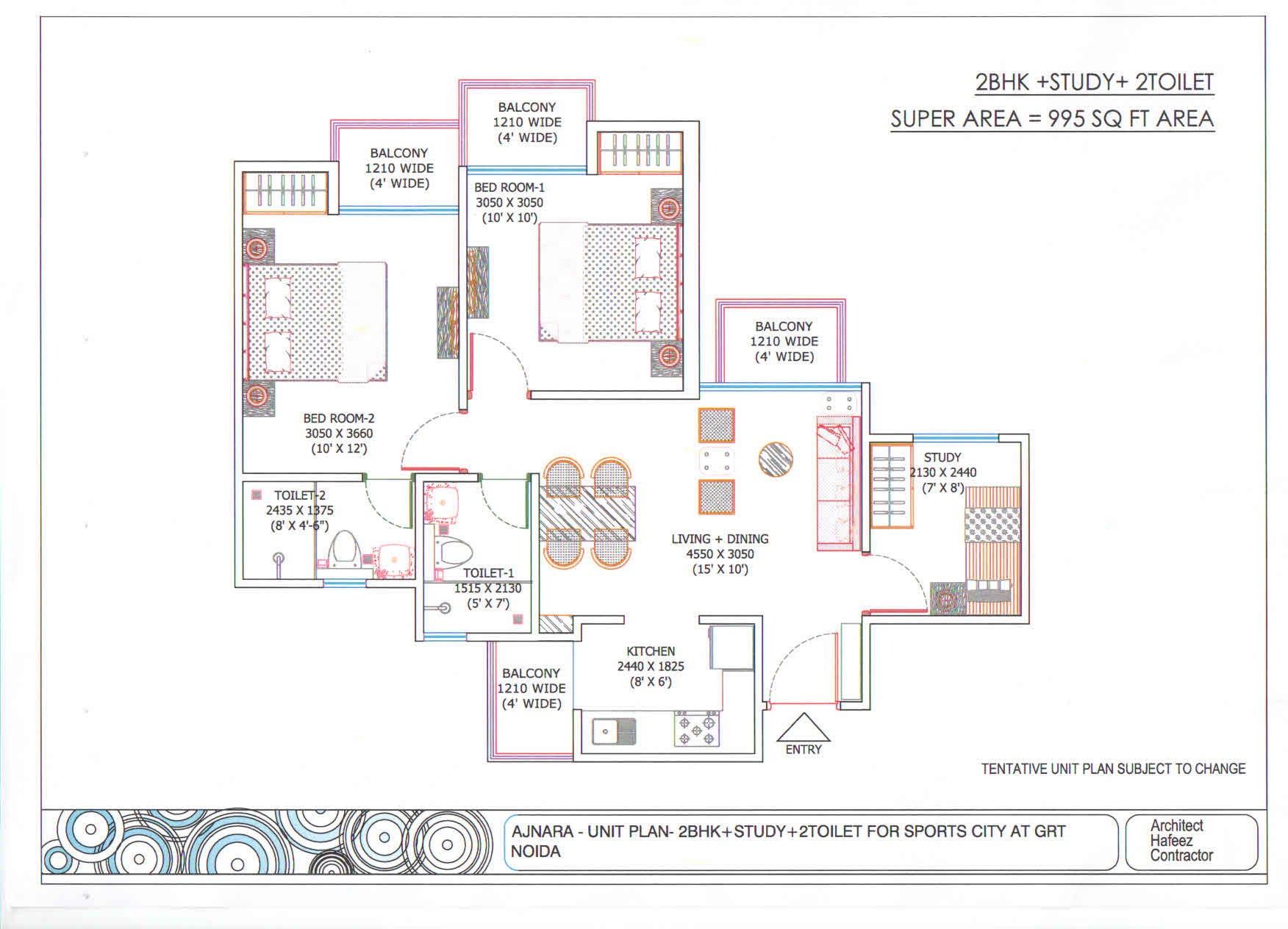 Ajnara Sports City floor plan 2bhk 2toilet 995 sqft