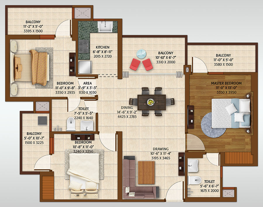 ace platinum floor plan 3bhk 2toilet 1450 sq.ft