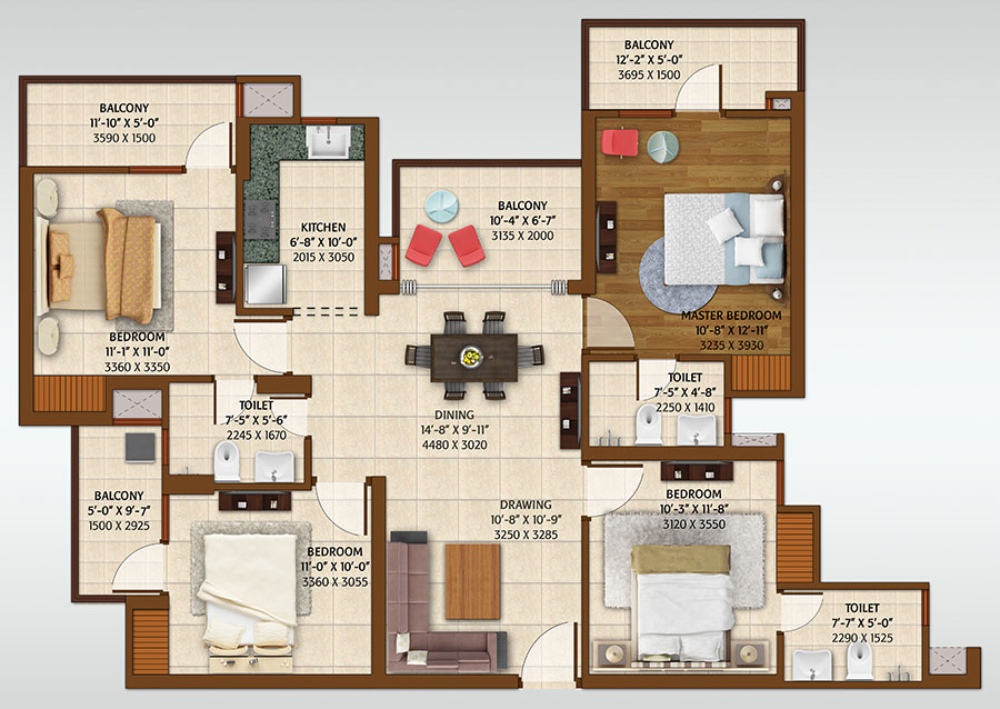 ace platinum floor plan 4bhk 3toilet 1950 sq.ft