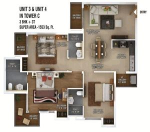 ratan pearls floor plan 3bhk 3toilet 1553 sq.ft