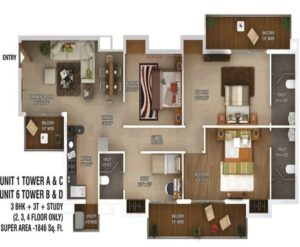ratan pearls floor plan 3bhk 3toilet 1846 sq.ft