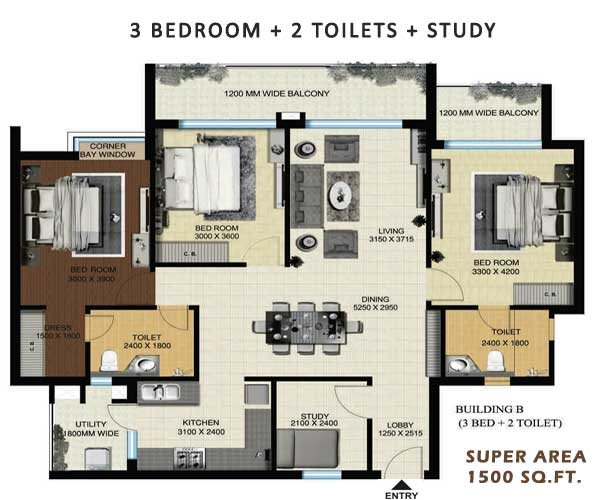aarcity regency park floor plan 3bhk 2toilet 1500 sqft