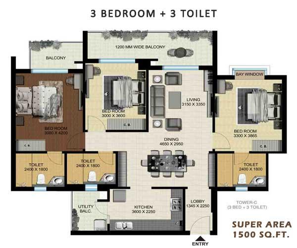 aarcity regency park floor plan 3bhk 3toilet 1500 sqft