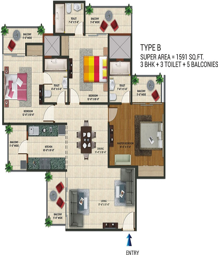 aarcity regency park floor plan 3bhk 3toilet 1591 sqft