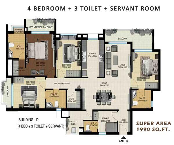 aarcity regency park floor plan 4bhk 3toilet 1990 sqft
