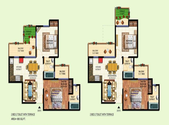 amrapali courtyard floor plan 2bhk 2toilet 885 sq.ft