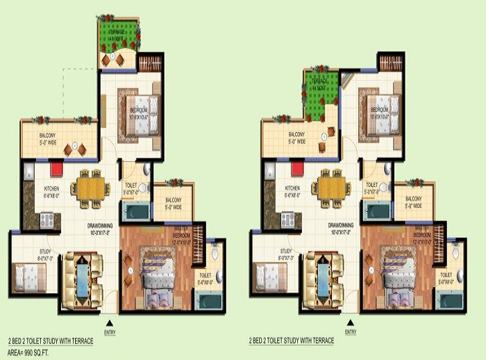 amrapali courtyard floor plan 2bhk 2toilet 990 sq.ft