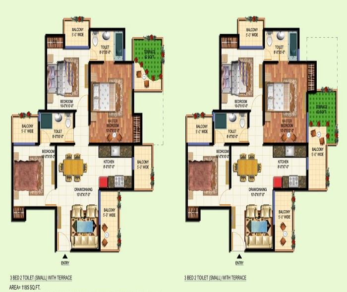 amrapali courtyard floor plan 3bhk 2toilet 1185 sq.ft