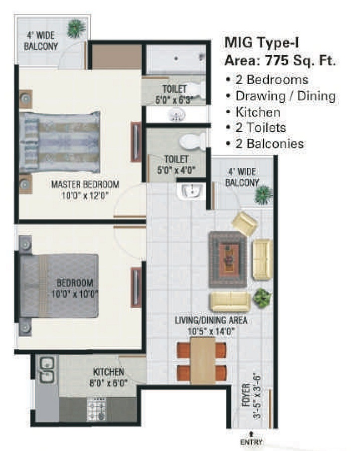 panchsheel green floor plan 2bhk 2toilet 775 sq.ft