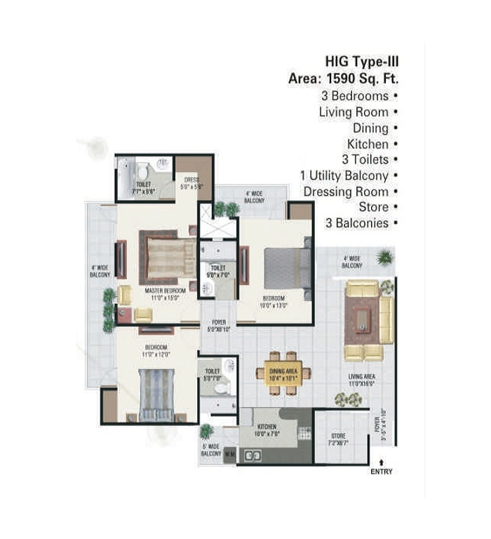 panchsheel green floor plan 3bhk 3toilet 1590 sq.ft