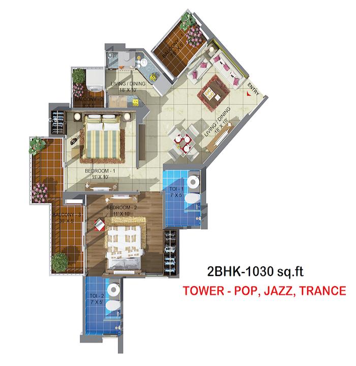 rhythm county floor plan 2bhk 2oilet 1030 sq.ft