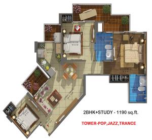 rhythm county floor plan 2bhk 2oilet 1190 sq.ft