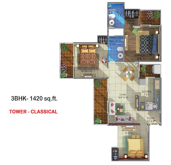rhythm county floor plan 3bhk 2oilet 1420 sq.ft