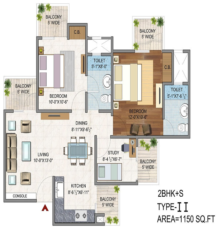 Vaibhav Heritage Height Floor Plan 2bhk 2toilet 1150