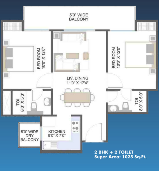 aarcity moon towers floor plan 2bhk 2toilet 1025 sq.ft