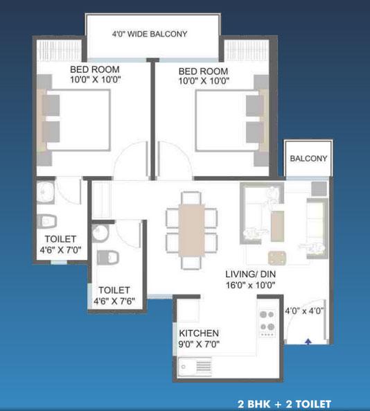aarcity moon towers floor plan 2bhk 2toilet 825 sq.ft