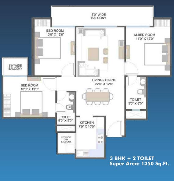 aarcity moon towers floor plan 3bhk 2toilet 1350 sq.ft