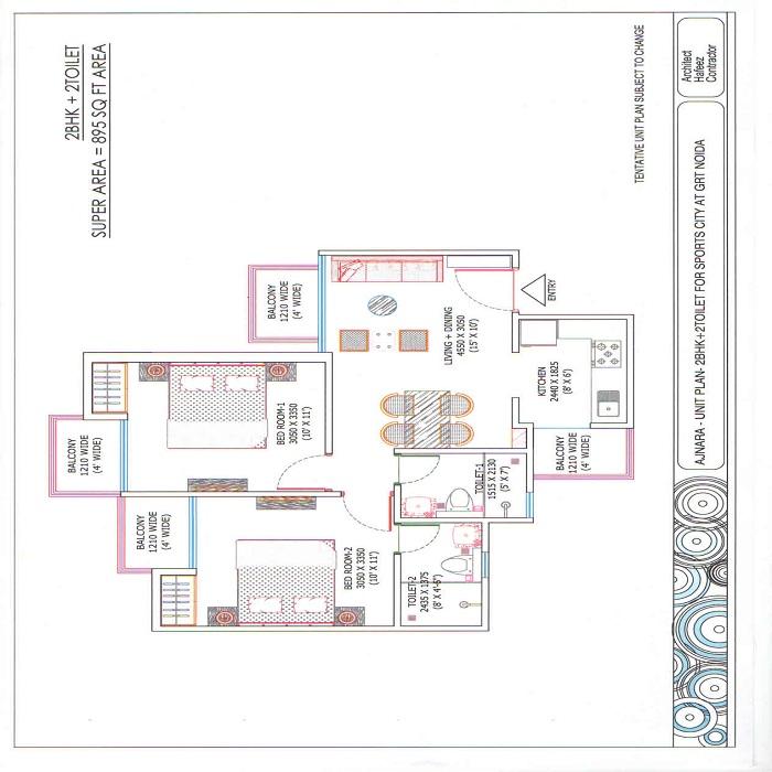 ajnara sports republik floor plan 2bhk 2toilet 895 sq.ft