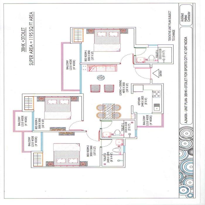ajnara sports republik floor plan 3bhk 3toilet 1195 sq.ft