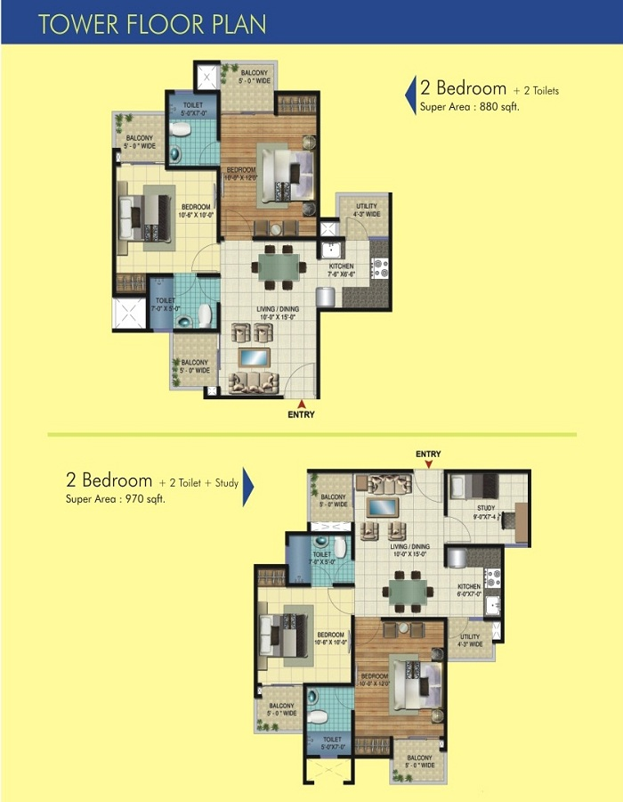 amrapali apex court floor plan 2bhk 2toilet 880 sqft