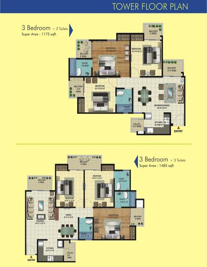 amrapali apex court floor plan 3bhk 2toilet 1175 sqft1