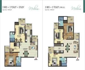 amrapali ivory heights floor plan 2bhk 2toilet 1230 sq.ft