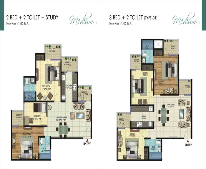 amrapali ivory heights floor plan 2bhk 2toilet 1230 sq.ft