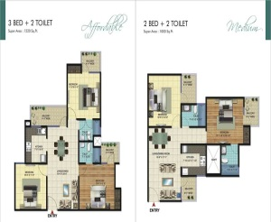 amrapali ivory heights floor plan 3bhk 2toilet 1220 sq.ft1