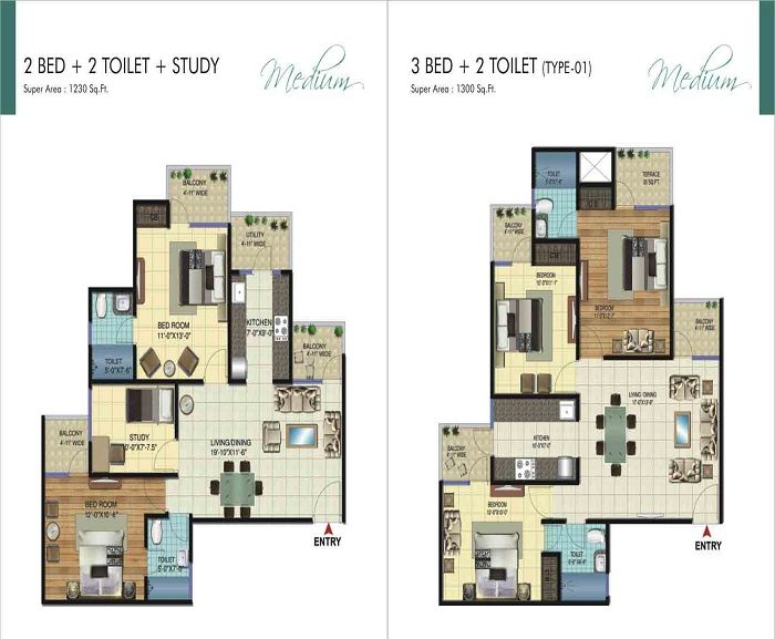 amrapali ivory heights floor plan 3bhk 2toilet 1300 sq.ft