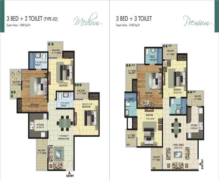 amrapali ivory heights floor plan 3bhk 3toilet 1450  sq.ft