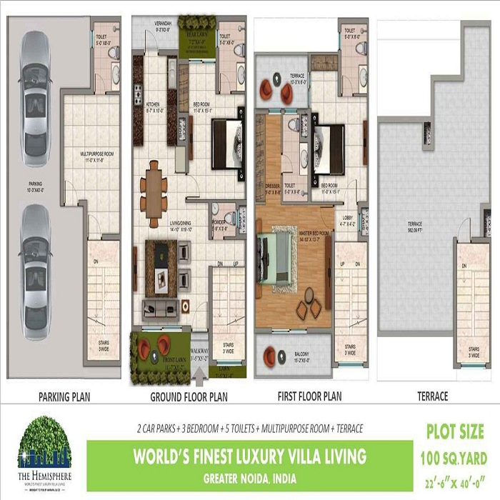 amrapali the hemisphere floor plan 3bhk 5toilet 1974 sq.ft