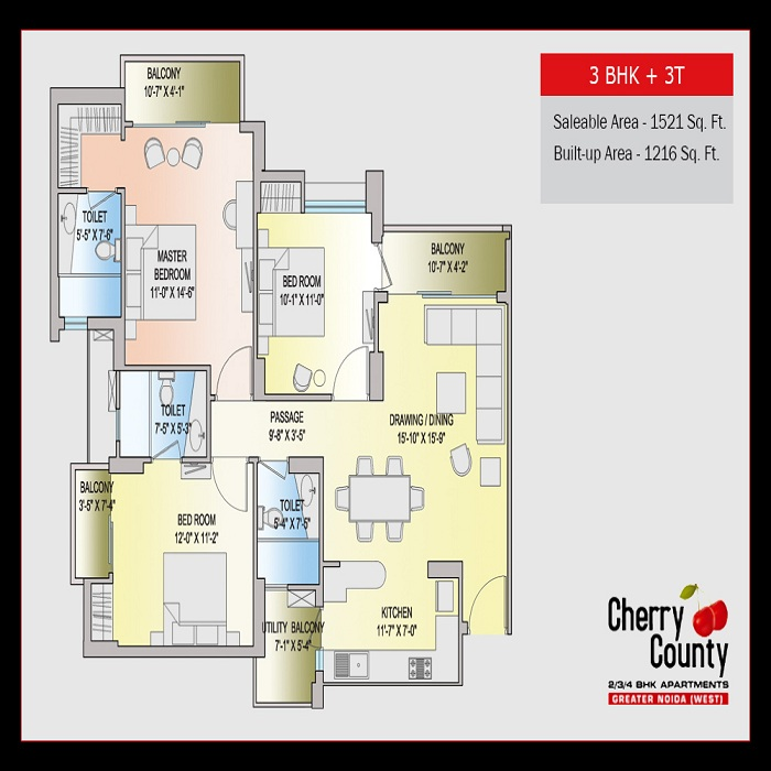 cherry county floor plan 3bhk 3toilet 1521 sq.ft