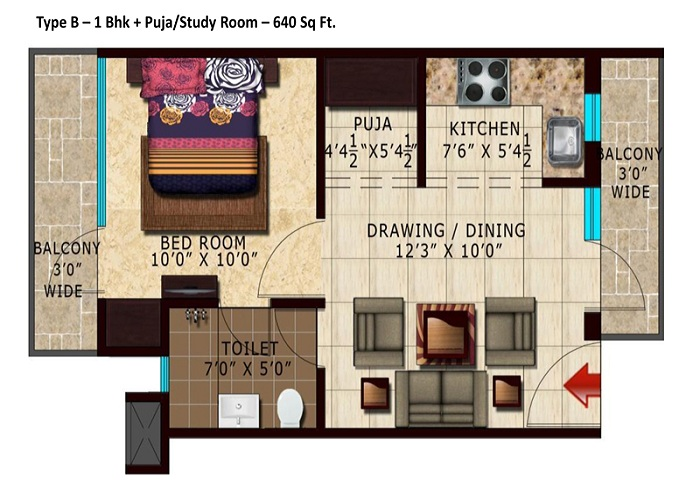 lotus park greens floor plan 1bhk 1toilet 640 sq.ft