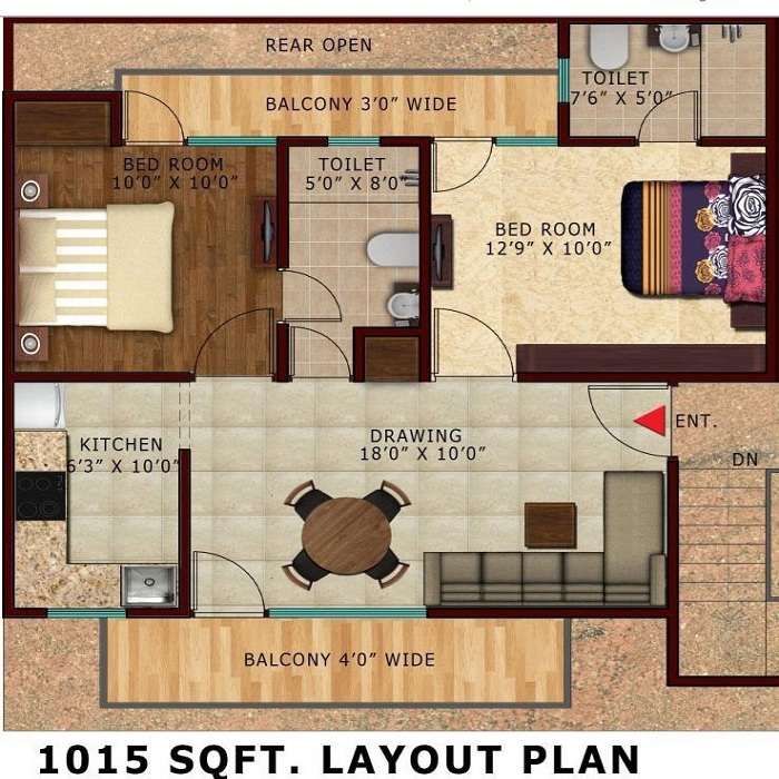 lotus villas floor plan 2bhk 2toilet 1050 sq.ft