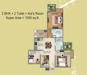 migsun green mansion floor plan 2bhk 2toilet 1095 sq.ft