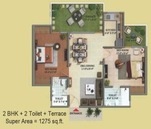 migsun green mansion floor plan 2bhk 2toilet 1275 sq.ft