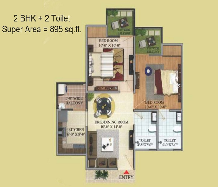 migsun green mansion floor plan 2bhk 2toilet 895 sq.ft
