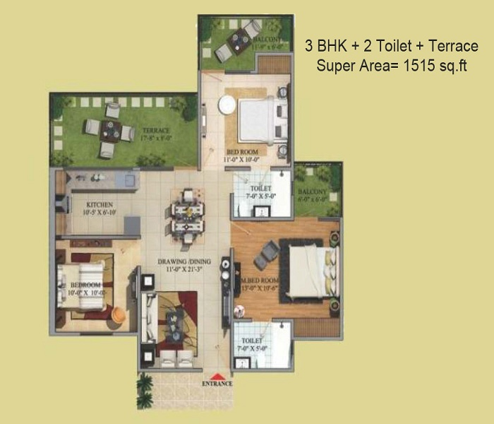 migsun green mansion floor plan 3bhk 2toilet 1515 sq.ft
