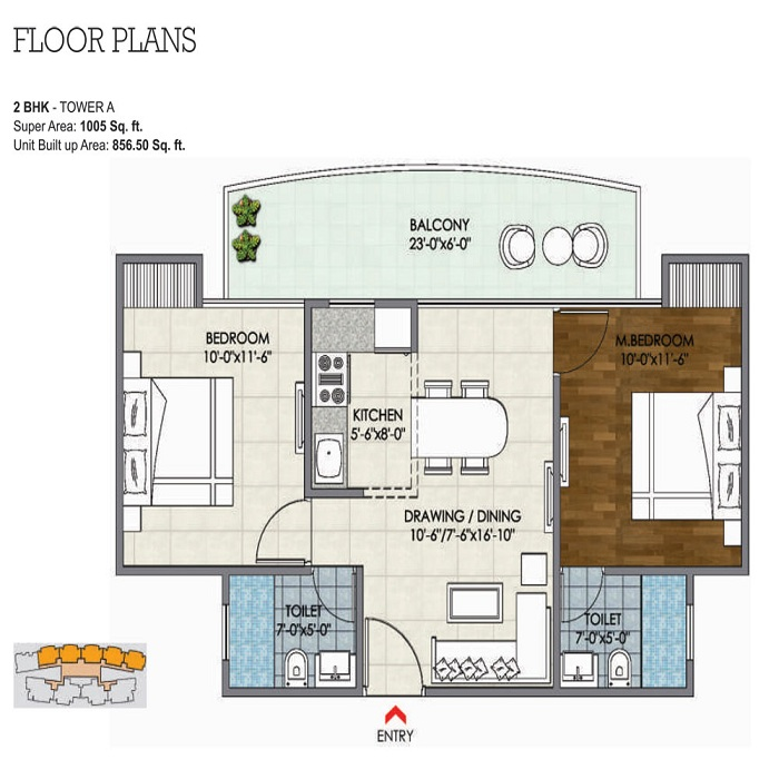 migsun ultimo floor plan 2bhk 2toilet 1005 sq.ft