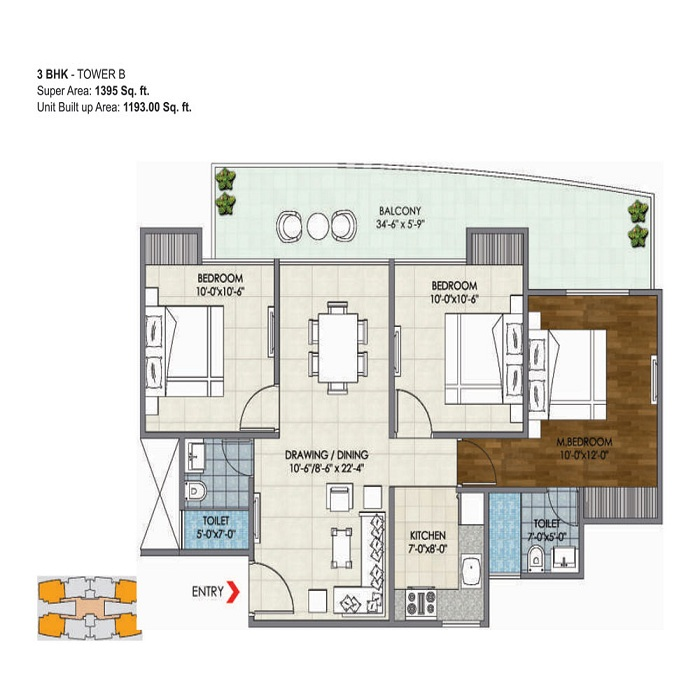 migsun ultimo floor plan 3bhk 2toilet 1395 sq.ft