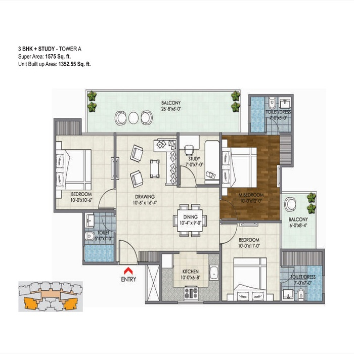 migsun ultimo floor plan 3bhk 3toilet 1575 sq.ft