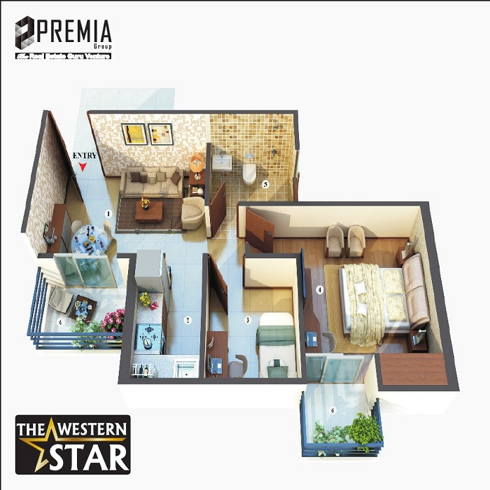 premia western star floor plan 1bhk 1toilet 697 sq.ft