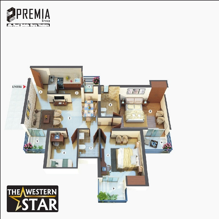 premia western star floor plan 2bhk 2toilet 1195 sq.ft