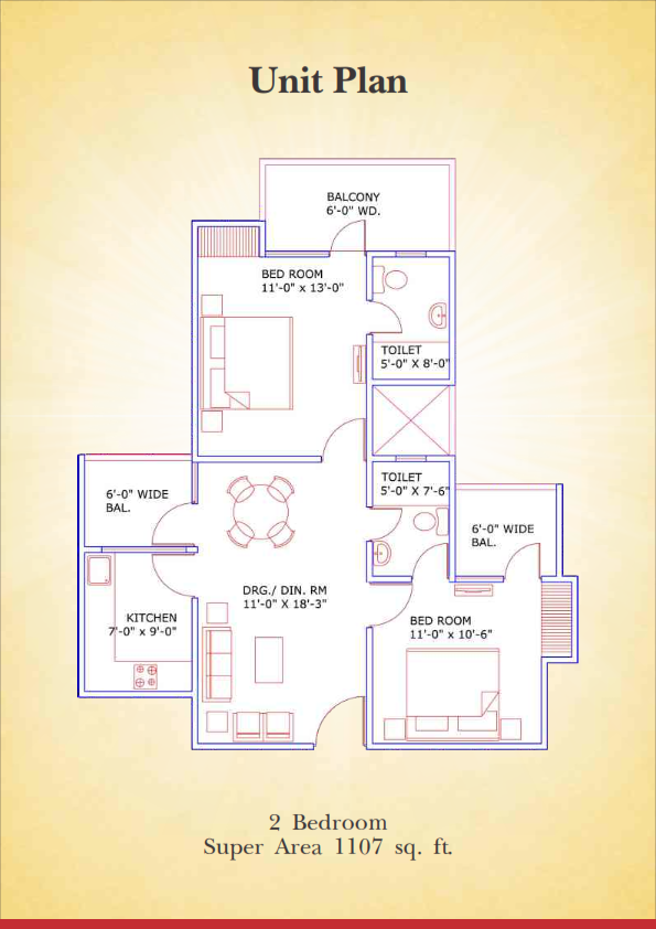 supertech aapka ghar floor plan 2bhk 2toilet 1107 sq.ft