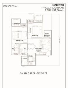 supertech sports village floor plan 2bhk 2toilet 897 sq.ft