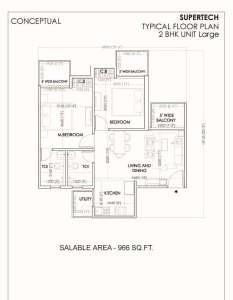 supertech sports village floor plan 2bhk 2toilet 966 sq.ft